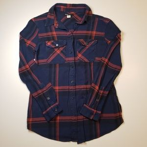 UO BDG > Navy Plaid Flannel Shirt with Red Stripes